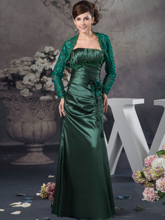 Column Tube Top Floor-length Stretch Satin Long Sleeve Sequin Lace Prom Dresses With Jacket