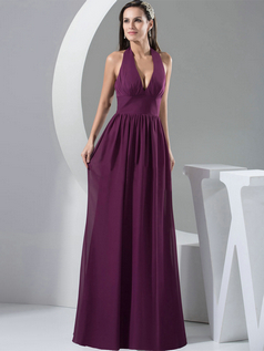 Column Halter Floor-length Chiffon Draped Evening Dresses