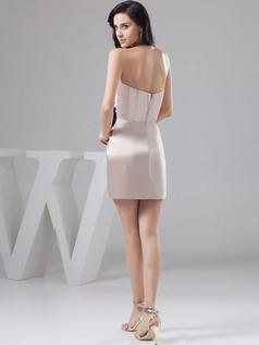 Column Asymmetrical Collar Short Satin Flower Side-draped Prom Dresses