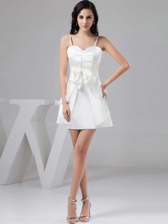 A-line Spaghetti Straps Short Satin Bowknot Homecoming Dresses