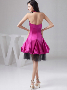 A-line Halter Knee-length Satin Prom Dresses With Semi Transparent