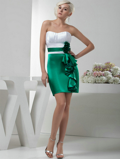 Column Sweetheart Short Satin Flower Ruffles Cocktail Dresses