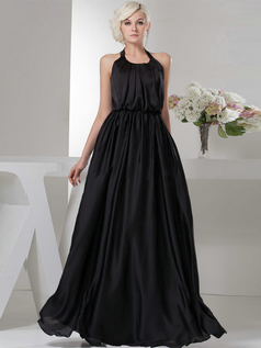 A-line Scoop Halter Floor-length Chiffon Draped Evening Dresses