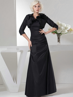A-line Scalloped-edge Floor-length Taffeta 3/4 Length Sleeve Tiered Prom Dresses With Jacket