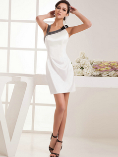 Column Asymmetrical Collar Short Satin Crystal Bowknot Cocktail Dress