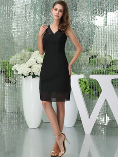 Column V-neck Straps Short Chiffon Bridesmaid Dresses