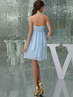 A-line Sweetheart Strapless Short Chiffon Bridesmaid Dresses