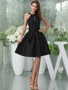 A-line Bateau Straps Short Satin Bridesmaid Dresses