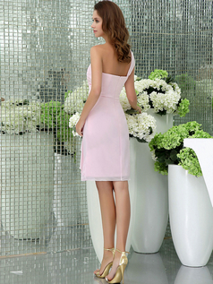 A-line One Shoulder Knee-length Chiffon Side-draped Prom Dresses