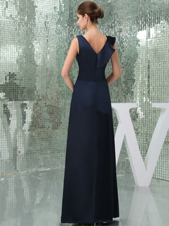 Column V-neck Straps Floor-length Satin Evening Dresses