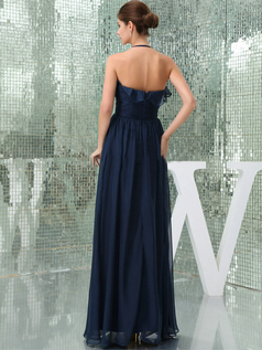 Column Spaghetti Halter Floor-length Chiffon Draped Evening Dresses