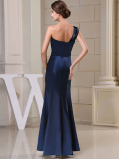 Column One Shoulder Floor-length Satin Beading Evening Dresses