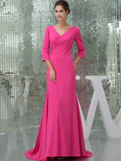 A-line V-neck Brush Train Chiffon 3/4 Length Sleeve Prom Dresses