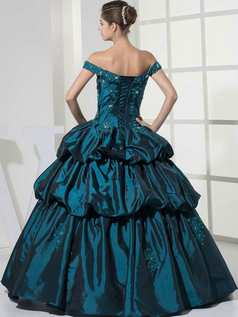Princess Off-the-shoulder Floor-length Taffeta Crystal Prom Dresses