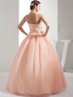 Ball Gown Strapless Floor-length Organza Crystal Quinceanera Dresses