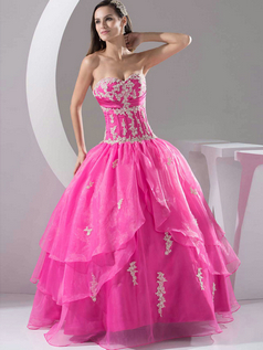Ball Gown Strapless Floor-length Organza Appliques Prom Dresses