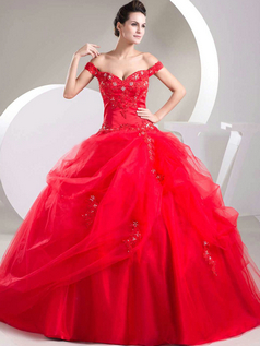 Ball Gown Off-the-shoulder Floor-length Organza Pick-Ups Prom Dresses