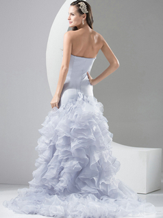 Mermaid Strapless Court Train Organza Ruffle Evening Dresses With Split Front