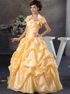 Ball Gown Tube Top Floor-length Taffeta Short Sleeve Quinceanera Dresses With Jacket