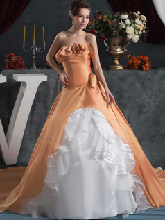 A-line Scalloped-edge Brush Train Satin Flower Quinceanera Dresses