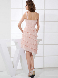 A-line One Shoulder Short Chiffon Tiered Cocktail Dresses