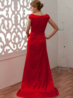 A-line Asymmetrical Collar Brush Train Satin Prom Dresses With Beading