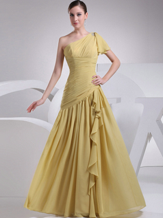 A-line One Shoulder Floor-length Chiffon Tiered Evening Dresses