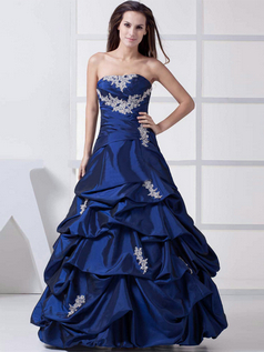 Princess Strapless Floor-length Taffeta Beading Prom Dresses