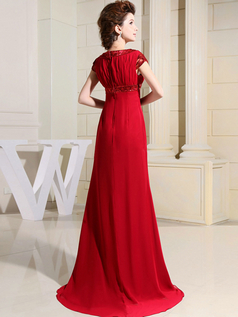 A-line Bateau Brush Train Chiffon Short Sleeve Sequin Evening Dresses