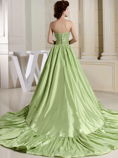 Ball Gown Strapless Brush Train Stretch Satin Draped Evening Dresses