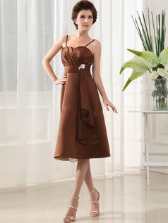 A-line Spaghetti Straps Tea-length Stretch Satin Crystal Cocktail Dresses