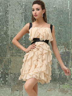 A-line Straps Short Chiffon Cocktail Dresses