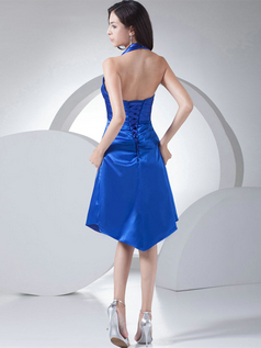 A-line Halter Knee-length Satin Flower Tiered Cocktail Dresses