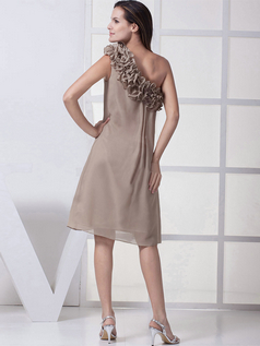 A-line Asymmetrical Collar Knee-length Chiffon Cocktail Dresses