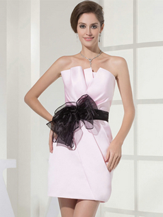 Column Scalloped-edge Mini Satin Ribbons Cocktail Dresses