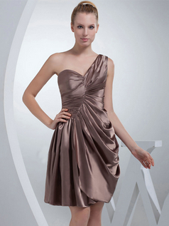 A-line One Shoulder Knee-length Stretch Satin Side-draped Cocktail Dresses