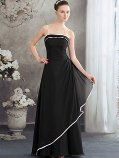 A-line Spaghetti Straps Floor-length Chiffon Evening Dresses
