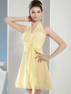 A-line Halter Short Chiffon Bowknot Cocktail Dresses