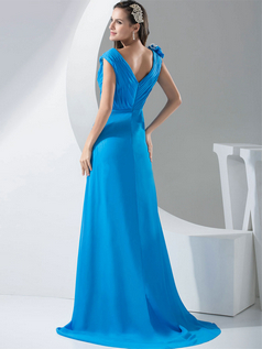 Trumpet V-neck Brush Train Chiffon Cap Sleeves Side-draped Evening Dresses
