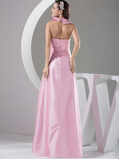 A-line Halter Floor-length Taffeta Tiered Evening Dresses