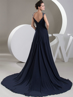 A-line Straps Brush Train Chiffon Crystal Beading Prom Dresses