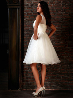 Amazing Princess Organza Straps Draped Knee-length Graduation Dresses