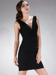 Sexy Sheath/Column V-neck Short/Mini Tiered Cocktail/Homecoming Dresses