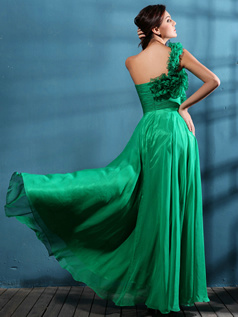 Fabulous A-line One shoulder Floor-length Draped Prom/Evening Dresses
