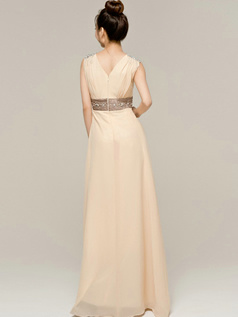 Appealing Sheath/Column Chiffon V-neck Crystal Prom/Evening Dresses