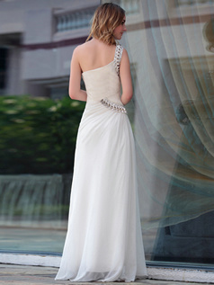Pure Color Classic Sheath/Column One shoulder Floor-length Sequin Evening Dresses