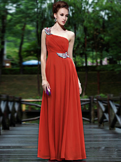 Graceful Sheath/Column One shoulder Floor-length Crystal Prom/Evening Dresses