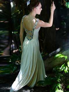 Sexy Sheath/Column Chiffon Scoop Floor-length Evening/Prom Dresses
