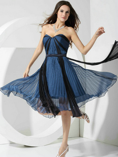 Adorable A-line Sweetheart Tea-length Draped Prom Dresses