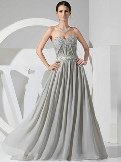 Noble A-line Sweetheart Floor-length Draped Evening Dresses
